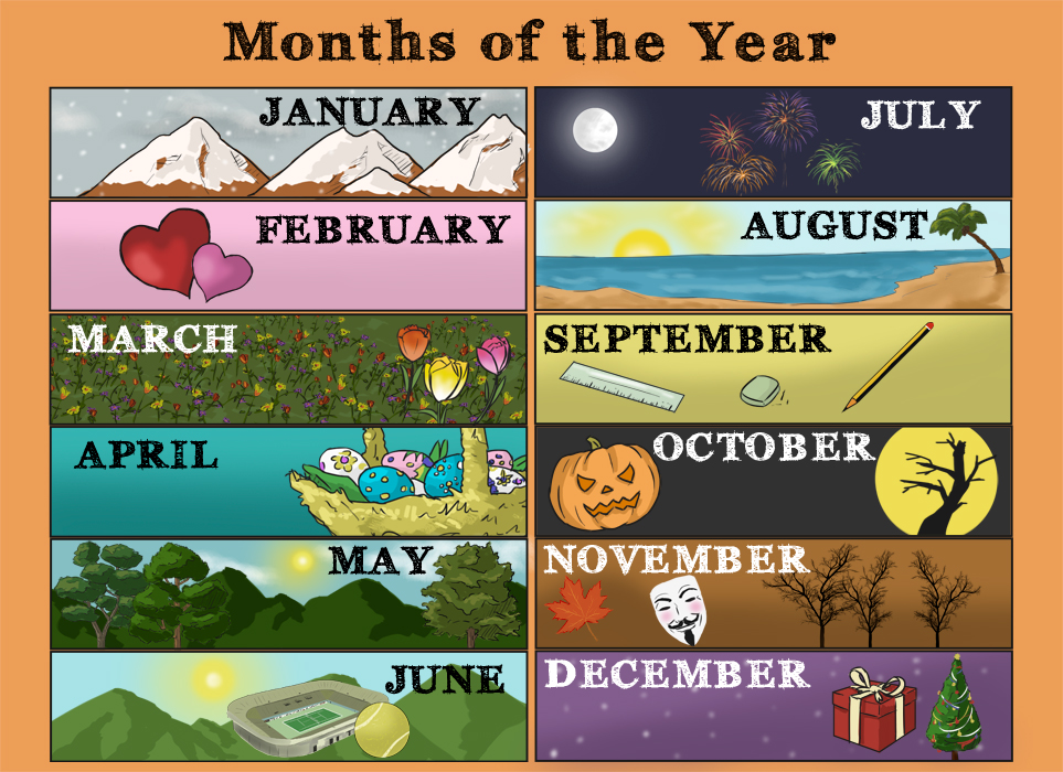 months of the year vocabuary