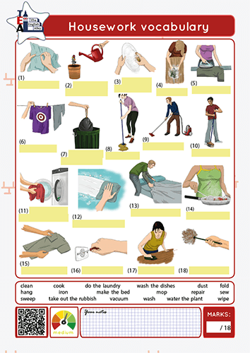housework verbs vocabulary