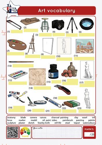 art class vocabulary worksheet
