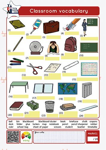 classroom vocabulary worksheet