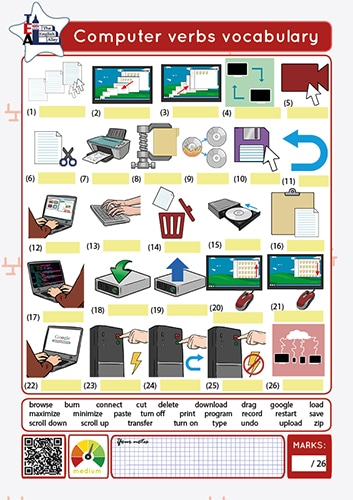 computer verbs worksheet