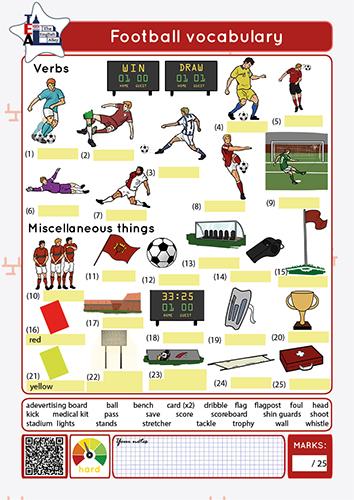 football vocabulary worksheet