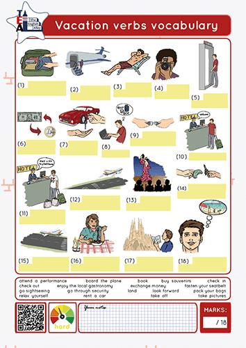 vacations verbs vocabulary