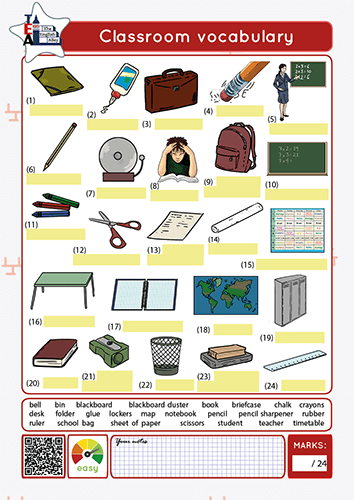 vocabulario de la escuela en inglés